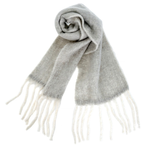 Fringed Blanket Scarf, Grey