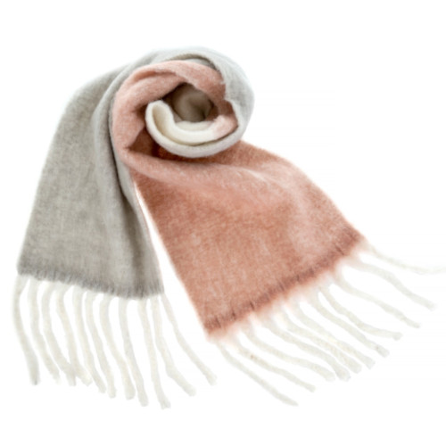 Fringed Blanket Scarf, Pink & Grey