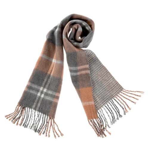 Plaid Blanket Scarf, Caramel&Grey
