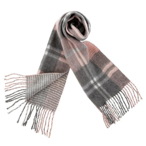 Plaid Blanket Scarf, Pink&Grey